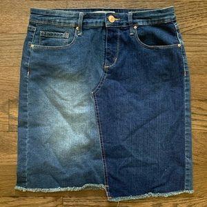 Vintage America Wonderland Denim Skirt Frayed Hem
